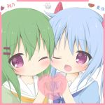 2girls ;) ;d bangs blue_bow blue_dress blue_hair blush bow closed_mouth dress eyebrows_visible_through_hair fang food_themed_hair_ornament green_dress green_hair hair_between_eyes hair_ornament hairclip hand_up heart heart_hands heart_hands_duo highres long_hair melon_hair_ornament multiple_girls one_eye_closed open_mouth orange_bow original puffy_sleeves rinechun rinechun's_blonde_dog_girl sailor_collar sailor_dress siblings sisters smile twins violet_eyes white_background white_sailor_collar