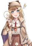 !! 1girl :d blonde_hair blue_eyes blush brown_headwear brown_jacket capelet collared_shirt cosplay cowboy_shot detective expulse facial_hair hair_ornament hat holding holding_magnifying_glass hololive hololive_english jacket long_hair long_sleeves looking_at_viewer magnifying_glass mustache necktie open_mouth plaid plaid_headwear plaid_skirt pleated_skirt pocket_watch red_neckwear sherlock_holmes sherlock_holmes_(cosplay) shirt simple_background skirt smile solo stethoscope watch watson_amelia white_background
