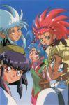 1990s_(style) 5girls hakubi_washuu kuramitsu_mihoshi masaki_aeka_jurai masaki_sasami_jurai masaki_tenchi multiple_girls official_art ryouko_(tenchi_muyou!) tenchi_muyou! tenchi_muyou!_ryou-ouki