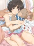 1girl amagami barefoot blush brown_eyes brown_hair highres keisuke_(0320030103200301) looking_at_viewer object_hug pink_shorts short_hair shorts smile solo strapless_shirt stuffed_animal stuffed_toy tachibana_miya teddy_bear