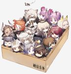 >_< 1other 4boys 6+girls ahoge amiya_(arknights) animal_ear_fluff animal_ears animal_ears_helmet arknights bangs beagle_(arknights) beard beret bird black_gloves black_headwear black_jacket blue_eyes blue_hair box braid brown_eyes brown_hair cliffheart_(arknights) closed_mouth commentary_request copyright_name cow_ears cow_horns detached_wings doctor_(arknights) executor_(arknights) exusiai_(arknights) eyebrows_visible_through_hair facial_hair fang_(arknights) fingerless_gloves fire_helmet fire_jacket firefighter flying fur_trim glasses gloves grey_eyes hair_between_eyes hair_ornament hair_over_one_eye halo hat hellagur_(arknights) hibiscus_(arknights) highres holding hood hooded_jacket horns jacket jessica_(arknights) jewelry lava_(arknights) leopard_ears leopard_tail long_hair long_sleeves matterhorn_(arknights) multiple_boys multiple_girls mustache nitaka_(fujikichi) open_mouth orange_hair originium_(arknights) plume_(arknights) pointy_ears ponytail pramanix_(arknights) purple_hair rabbit_ears red-framed_eyewear ring semi-rimless_eyewear shaw_(arknights) short_hair siblings sidelocks silver_hair silverash_(arknights) simple_background sisters smile squirrel_girl tail turtleneck twins twintails under-rim_eyewear violet_eyes white_hair wings yellow_eyes
