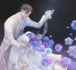 1boy blue_flower blue_rose bride brown_hair coat commentary_request dancing dissolving dress facial_hair feet_out_of_frame flower groom hand_up hetero hollow light_particles original outstretched_arms pants petals pink_flower pink_rose purple_flower purple_rose rose sad sash see-through_sleeves shirt solo stubble vest white_coat white_dress white_shirt yoshicha