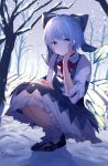 1girl absurdres ahoge blue_dress blue_eyes blue_hair bow cirno dress eyebrows_visible_through_hair frills hair_bow hand_on_leg hand_on_own_face highres huge_filesize ice ice_wings kneeling kozomezuki maid_dress red_neckwear ribbon short_hair smile snow solo touhou wings winter
