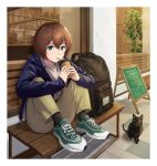 1girl androgynous animal backpack backpack_removed bag bench blue_eyes brown_hair cat chalkboard_sign commentary drinking drinking_straw highres legs_up original outdoors raku_rakugaki short_hair sitting solo