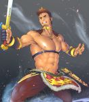 1boy abs bara blue_eyes brown_hair bulge chest chest_harness collar facial_hair fang fighting_stance forked_eyebrows gradient_hair gullinbursti_(tokyo_houkago_summoners) harness highres ko_shushu male_focus manly multicolored_hair muscle navel nipples pectorals revealing_clothes shirtless short_hair sideburns solo stubble sword thick_thighs thigh_cutout thighs tokyo_houkago_summoners weapon