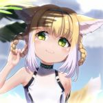 1girl \n/ animal_ears arknights bangs bare_arms bare_shoulders blonde_hair blue_hairband blurry blurry_background blush braid closed_mouth commentary day depth_of_field eyebrows_visible_through_hair green_eyes hair_between_eyes hair_rings hairband hand_up head_tilt highres holding holding_hair leotard looking_away looking_to_the_side multicolored_hair outdoors smile solo suzuran_(arknights) symbol_commentary tail tail_raised too-ye twin_braids two-tone_hair upper_body white_hair white_leotard