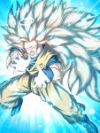 1boy blonde_hair blue_eyes bracer dragon_ball dragon_ball_z halo highres incoming_attack kamehameha long_hair looking_at_viewer male_focus mattari_illust muscle no_eyebrows open_mouth solo son_gokuu super_saiyan super_saiyan_3 very_long_hair
