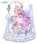 1girl aqua_eyes bare_shoulders bouquet breasts bridal_veil chair chii_aruel detached_sleeves dress fishnets flower garter_straps highres kyjsogom loafers long_hair looking_at_viewer looking_back medium_breasts midriff official_art parted_lips petals pink_hair rose see-through shoes solo soul_worker thigh-highs veil very_long_hair wedding_dress white_dress white_flower white_footwear white_legwear zettai_ryouiki