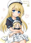 1girl artist_logo blonde_hair blue_eyes blue_sailor_collar character_doll commentary_request dated doll_hug dress gloves hat heart heart_background highres janus_(kantai_collection) jervis_(kantai_collection) kantai_collection kotowari_(newtype_kenkyuujo) long_hair looking_at_viewer sailor_collar sailor_dress sailor_hat short_sleeves sitting smile socks solo twitter_username wariza white_background white_dress white_gloves white_headwear white_legwear
