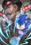 2boys animal_nose beard bright_pupils commentary_request dr._eggman facial_hair fingerless_gloves furry gloves goggles goggles_on_head grin highres licking looking_at_viewer male_focus multiple_boys mustache myuutau_tadakichi red_footwear robot running shoes smile sneakers sonic sonic_the_hedgehog sonic_the_hedgehog_(film) tongue tongue_out white_gloves white_pupils