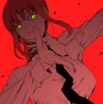 1girl bangs black_neckwear braid braided_ponytail breasts business_suit chainsaw_man collared_shirt expressionless formal glowing glowing_eyes hand_gesture highres long_hair makima_(chainsaw_man) medium_breasts necktie red_background ringed_eyes serious sf_going_on shirt solo suit