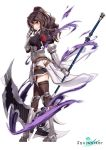 1girl absurdres armor armored_boots armpit_cutout black_shirt black_skirt boots breasts brown_hair brown_legwear faulds full_body garter_straps gauntlets hand_up highres holding holding_scythe knee_boots large_breasts lily_bloomerchen long_hair looking_at_viewer looking_to_the_side miniskirt official_art parted_lips ponytail puffy_sleeves rainmaker red_eyes scythe shirt simple_background skirt smile solo soul_worker standing thigh-highs wavy_hair white_background zettai_ryouiki