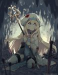 1girl artist_name bangs blonde_hair blood bloody_clothes blue_eyes blush boots cave crying goblin_slayer! hat highres holding holding_staff injury long_hair long_sleeves looking_to_the_side parororo planted_arrow planted_sword planted_weapon priestess_(goblin_slayer!) sitting skull solo staff sword tears thigh-highs thigh_boots torn_clothes wariza watermark weapon web_address white_headwear white_legwear wide_sleeves