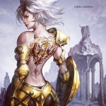 1girl armor ass back back_tattoo bare_shoulders black_legwear black_panties commentary cowboy_shot day from_behind gold_armor gold_saint highres holding holding_shield holding_weapon jay_b_lee libra_douko lips looking_at_viewer looking_back outdoors panties saint_seiya shield short_hair shoulder_armor silver_hair single_bare_shoulder solo standing tattoo tiger_tattoo underwear weapon