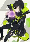 #compass 1boy black_gloves black_hair black_nails fingerless_gloves fingernails full_body gloves green_eyes highres hover_board jacket looking_at_viewer male_focus reiya_(compass) short_hair sitting skateboard solo turtleneck yusya11