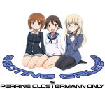 3girls :d ascot bangs black_legwear black_neckwear blonde_hair blue_jacket blue_sailor_collar brown_eyes brown_hair character_name closed_mouth crossover english_text eyebrows_visible_through_hair girls_und_panzer glasses green_shirt jacket kaneko_(novram58) long_sleeves looking_at_viewer military military_uniform miniskirt miyafuji_yoshika multiple_girls nishizumi_miho no_pants ooarai_military_uniform open_mouth perrine_h_clostermann pleated_skirt rimless_eyewear sailor_collar seiza shirt short_hair side-by-side sitting skirt smile strike_witches uniform white_background white_neckwear white_shirt white_skirt world_witches_series yellow_eyes