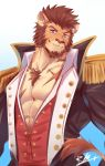 1boy abs animal_ears bara beard blue_eyes brown_fur brown_hair chest collar epaulettes facial_hair fate/grand_order fate_(series) fringe_trim fur furrification furry jacket lion_boy lion_ears long_sleeves looking_at_viewer male_focus military military_uniform muscle napoleon_bonaparte_(fate/grand_order) open_clothes open_jacket open_shirt pectorals rabbity_art scar short_hair smile solo unbuttoned uniform upper_body