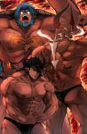 3boys abs angry ass bara black_briefs black_hair blue_hair briefs character_request chest dark_skin dark_skinned_male draph earrings eyepatch flexing granblue_fantasy highres horns jewelry jingisu_kan_(bara_artist) long_hair male_focus male_underwear manly multiple_boys muscle nipples no_pupils pectorals pointy_ears pose reinhardtzar smug thick_thighs thighs underwear underwear_only