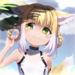 1girl \n/ animal_ears arknights bangs bare_arms bare_shoulders blonde_hair blue_hairband blurry blurry_background blush braid closed_mouth commentary day depth_of_field eyebrows_visible_through_hair green_eyes hair_between_eyes hair_rings hairband hand_up head_tilt highres holding holding_hair leotard looking_away looking_to_the_side multicolored_hair outdoors revision smile solo suzuran_(arknights) symbol_commentary tail tail_raised too-ye twin_braids two-tone_hair upper_body white_hair white_leotard