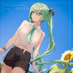 1girl 2020 absurdres bangs black_bow black_shorts blue_sky blurry blurry_background bow character_name closed_mouth collared_shirt cowboy_shot dated dutch_angle eyebrows_visible_through_hair floating_hair flower green_eyes green_hair green_neckwear hair_between_eyes hair_bow hatsune_miku highres huge_filesize long_hair looking_to_the_side necktie shiny shiny_hair shirt short_shorts shorts sky sleeveless sleeveless_shirt smile solo striped striped_bow sunflower tied_shirt twintails very_long_hair vocaloid walking white_shirt wing_collar xy_(pixiv8783776) yellow_flower