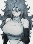1girl alternate_costume android_21 blue_eyes breasts closed_mouth detached_sleeves dragon_ball dragon_ball_fighterz glasses grey_background greyscale hair_between_eyes kemachiku large_breasts long_hair looking_at_viewer monochrome simple_background solo