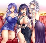 3104_(3104milkshake) 3girls :d ass azuma_(azur_lane) azur_lane bangs bare_shoulders black_gloves blue_dress blush breasts brown_eyes butterfly_hair_ornament couch criss-cross_halter cup dress dunkerque_(azur_lane) gloves hair_between_eyes hair_ornament hair_over_one_eye halterneck hand_in_hair highres holding holding_cup large_breasts long_hair looking_at_viewer multiple_girls open_mouth purple_dress purple_hair red_eyes short_dress side_slit sidelocks silver_hair sitting smile strapless strapless_dress trento_(azur_lane) tube_dress very_long_hair wavy_hair