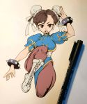 1girl absurdres arm_up bracelet breasts brown_eyes brown_hair brown_legwear bun_cover china_dress chinese_clothes chun-li cross-laced_footwear double_bun dress earrings english_commentary fighting_stance full_body highres jewelry jojowentbananas looking_at_viewer open_mouth pantyhose photo puffy_short_sleeves puffy_sleeves sash short_sleeves side_slit simple_background solo spiked_bracelet spikes street_fighter upper_teeth v-shaped_eyebrows white_footwear white_sash
