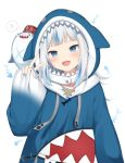 1girl :d amashiro_natsuki blue_hair blue_hoodie blue_nails commentary drawstring gawr_gura hand_up highres hololive hololive_english hood hood_down hoodie long_sleeves looking_at_viewer multicolored_hair nail_polish official_art open_mouth pinching_sleeves shark_hood sharp_teeth simple_background sleeves_past_wrists smile solo streaked_hair teeth upper_body w white_background white_hair