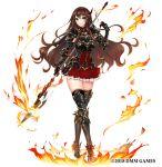 1girl apt armor boots brown_hair fire gemini_seed high_heel_boots high_heels highres knight lance polearm skirt thigh-highs weapon zettai_ryouiki