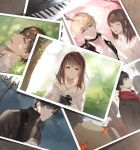 3girls 4boys autumn black_hair blue_eyes blush brown_hair can closed_eyes grass instrument jewelry lamppost li_zeyan love_and_producer lying mo_xu multiple_boys multiple_girls musu0626 necklace on_back photo_(object) piano protagonist_(love_and_producer) red_scarf scarf shirt spring_(season) summer white_shirt zhou_quiluo
