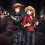 1boy 1girl armor blonde_hair brown_eyes claire_redfield couple cute deviantart feathers grenade_launcher gun handcuffs leon_s_kennedy multicolored_hair necklace pistol ponytail red_jacket resident_evil resident_evil_2 sincity2100 tenjouin_asuka vest yellow_eyes yu-gi-oh! yuu-gi-ou yuu-gi-ou_gx yuuki_juudai
