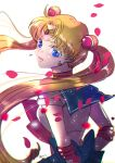 1girl arms_behind_back back_bow bishoujo_senshi_sailor_moon blonde_hair blue_bow blue_eyes blue_sailor_collar bow bowtie circlet collared_shirt crescent crescent_earrings dolcexxx double_bun earrings floating_hair from_behind hair_intakes head_tilt highres jewelry long_hair open_mouth red_bow red_neckwear sailor_collar sailor_moon sailor_senshi_uniform sailor_shirt shiny shiny_hair shirt short_sleeves solo twintails upper_body very_long_hair white_background white_shirt