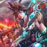 1boy absurdres armor bracelet brown_eyes brown_hair chair character_request collarbone english_text glasses guitar highres instrument jay_b_lee jewelry macross macross_7 male_focus music open_mouth playing playing_instrument round_eyewear singing sitting solo space space_craft teeth tongue veins