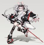 1girl :3 animal_ears bangs black_legwear hair_between_eyes headgear highres holding holding_weapon ierotak jacket jewelry knee_pads long_hair necklace original paws red_eyes roller_skates silver_hair simple_background skates sleeveless strap sword thigh-highs watermark weapon