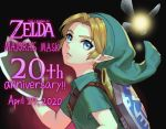 1boy anniversary bangs belt blonde_hair blue_eyes brown_belt commentary_request copyright_name dated fairy from_side green_headwear green_shirt hat highres holding holding_mask hylian_shield link looking_at_viewer male_focus mask mask_removed parted_bangs parted_lips pointy_ears sheath shield shirt short_sleeves tatl the_legend_of_zelda the_legend_of_zelda:_majora's_mask unsheathed upper_body utsuse
