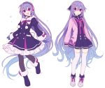 1girl coat coat_dress commentary_request earmuffs eyebrows_visible_through_hair full_body hair_between_eyes hijiri_(resetter) long_hair long_sleeves looking_at_viewer multiple_views open_mouth original pantyhose purple_hair simple_background skirt thigh-highs very_long_hair violet_eyes white_background