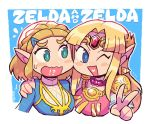 !? 2girls bangs blue_eyes braid character_name crown_braid forehead_jewel green_eyes hand_on_another's_shoulder highres long_hair looking_at_another looking_to_the_side multiple_girls one_eye_closed open_mouth parted_bangs pointy_ears princess_zelda rariatto_(ganguri) short_hair the_legend_of_zelda the_legend_of_zelda:_a_link_between_worlds the_legend_of_zelda:_breath_of_the_wild the_legend_of_zelda:_breath_of_the_wild_2 v