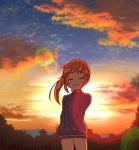 1girl backlighting bangs blue_sky brown_hair closed_eyes clouds cloudy_sky commentary eyebrows_visible_through_hair facing_viewer forest gradient_sky hands_in_pockets jacket lens_flare long_hair long_sleeves mountain nature open_mouth orange_sky outdoors ponytail saki saki_achiga-hen shibugaki sky smile solo standing sunset takakamo_shizuno track_jacket wind