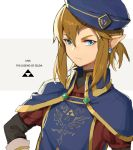 1boy alternate_costume bangs blonde_hair blue_eyes blue_headwear closed_mouth commentary_request earrings elf frown grey_background hat hylian jewelry leopardtiger link long_sleeves looking_at_viewer male_focus nintendo nintendo_ead pointy_ears sidelocks solo tabard the_legend_of_zelda the_legend_of_zelda:_breath_of_the_wild triforce two-tone_background upper_body v-shaped_eyebrows white_background