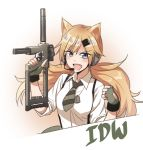1girl animal_ears blonde_hair blue_eyes character_name clenched_hand fingerless_gloves girls_frontline gloves green_gloves green_neckwear gun holding holding_gun holding_weapon idw_(girls_frontline) korean_commentary long_hair looking_at_viewer necktie parker-hale_idw shino_(r_shughart) solo upper_body weapon