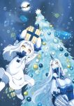 2girls barefoot box breasts bubble christmas christmas_tree claws dress gift gift_box holding holding_gift horns kantai_collection large_breasts long_hair mitsuyo_(mituyo324) mittens moon multiple_girls northern_ocean_hime open_mouth pale_skin reindeer santa_claus seaport_hime seashell shell shinkaisei-kan single_horn smile underwater water white_dress yellow_eyes