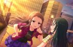 blush brown_hair dress idolmaster_cinderella_girls_starlight_stage koseki_reina long_hair smile violet_eyes
