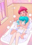 2girls ahoge aqua_eyes aqua_hair bath bathroom bathtub bubble_bath hagoromo_lala hair_ornament highres hoshina_hikaru indoors jewelry juugoya_neko multiple_girls nude partially_submerged precure red_eyes redhead ring shared_bathing short_hair soap_bubbles star_(symbol) star_hair_ornament star_in_eye star_twinkle_precure symbol_in_eye thick_eyebrows wedding_band