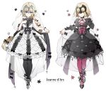 2girls bangs bare_shoulders black_bow black_dress black_footwear black_legwear black_ribbon blonde_hair blue_eyes bow braid breasts center_frills character_name closed_mouth commentary_request cross dress fate/grand_order fate_(series) frills full_body headpiece jeanne_d'arc_(alter)_(fate) jeanne_d'arc_(fate) jeanne_d'arc_(fate)_(all) leopardtiger long_braid long_hair long_sleeves looking_at_viewer medium_breasts multiple_girls pantyhose pink_legwear ribbon see-through simple_background single_braid sleeveless sleeveless_dress smile standing veil white_background white_dress white_footwear yellow_eyes