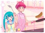 2girls ahoge apron aqua_eyes aqua_hair arms_behind_back bangs blunt_bangs collarbone cooking earrings food hagoromo_lala hoshina_hikaru indoors jewelry juugoya_neko kitchen long_hair multiple_girls pancake pink_apron precure redhead ring short_hair sleeveless spatula star_(symbol) star_twinkle_precure striped thick_eyebrows turtleneck twintails vertical_stripes wedding_band