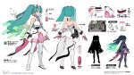 1girl aqua_eyes aqua_hair backless_dress backless_outfit bare_shoulders boots character_sheet commentary crypton_future_media dress from_behind gloves glowing glowing_hair hatsune_miku headgear highres knee_boots long_hair multiple_views official_art siirakannu silhouette sleeveless sleeveless_dress thigh-highs translation_request twintails very_long_hair vocaloid white_dress white_footwear white_gloves white_legwear