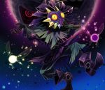 1boy boots brown_footwear brown_gloves clothing_request commentary_request fairy fairy_wings floating full_body gloves glowing glowing_eye hadhia_qise hat looking_at_viewer male_focus mask moon_(majora's_mask) night night_sky open_mouth red_eyes skull_kid sky spikes star_(sky) starry_sky tael tatl teeth the_legend_of_zelda the_legend_of_zelda:_majora's_mask wings