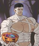 1boy absurdres bandages bara black_hair chest covered_abs covered_navel facial_hair halloween halloween_costume halo highres k_sen212 male_focus manly mummy_costume muscle nipples pectorals pumpkin short_hair sideburns solo stubble tokyo_houkago_summoners upper_body yellow_eyes zabaniya_(tokyo_houkago_summoners)