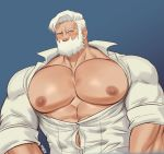 1boy abs absurdres bara beard blush bursting_pecs chest chest_tattoo drayden_(pokemon) facial_hair gym_leader highres k_sen212 looking_at_viewer male_focus manly muscle nipples open_clothes open_shirt pectorals pokemon pokemon_(game) pokemon_bw shirt short_hair sleeves_rolled_up solo tattoo upper_body wardrobe_malfunction white_shirt yellow_eyes