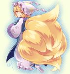 1girl ankle_socks bangs blonde_hair blue_tabard breasts commentary dress eyebrows_visible_through_hair fluffy fox_tail frilled_dress frilled_hat frills from_behind from_side full_body hands_up hat highres kitsune large_breasts large_tail long_sleeves looking_at_viewer looking_back multiple_tails pillow_hat pmx short_hair sidelocks signature smile socks solo tabard tail tassel touhou white_dress white_headwear white_legwear white_robe yakumo_ran yellow_eyes
